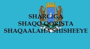 SHARCIGA  Shaqo-qorista Shaqaalaha Shisheeye
